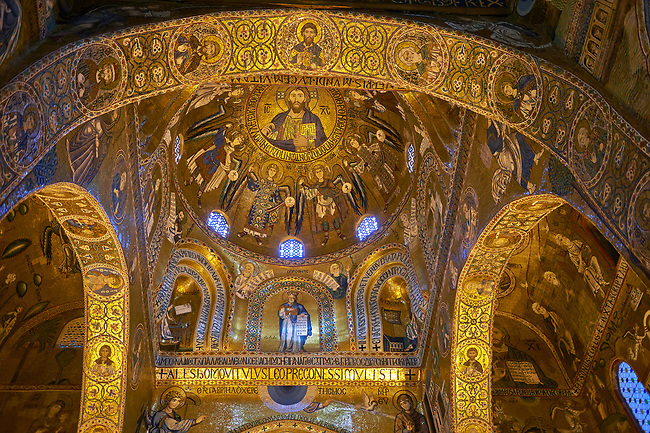 Medieval Byzantine style mosaics of the main aisle & dome of the Palatine Chapel, Cappella Palatina, Palermo, Italy