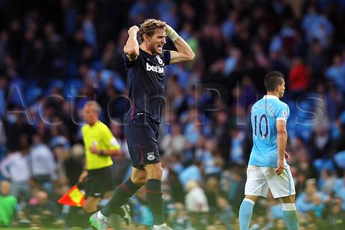 19.09.2015. Manchester, England. Barclays Premier League. Manchester City versus West Ham. Nikica Jelavic of West Ham United looks ecstatic as West Ham win 2-1