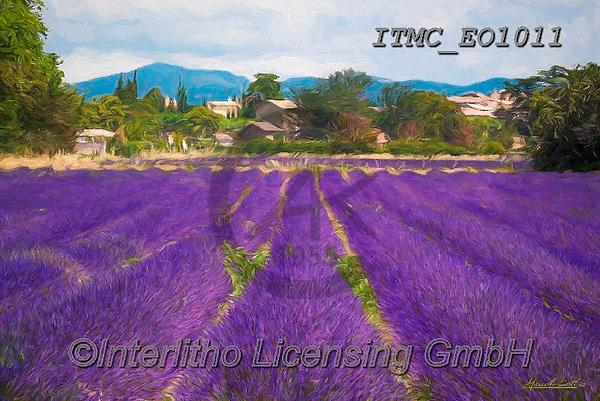 Marcello, LANDSCAPES, LANDSCHAFTEN, PAISAJES, paintings+++++,ITMCEO1011,#l#, EVERYDAY ,provence,lavender ,puzzles