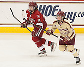 Lyndsey Fry (Harvard - 9), Ashley Motherwell (BC - 18) - The Boston College Eagles defeated the visiting Harvard University Crimson 3-1 in their NCAA quarterfinal matchup on Saturday, March 16, 2013, at Kelley Rink in Conte Forum in Chestnut Hill, Massachusetts.