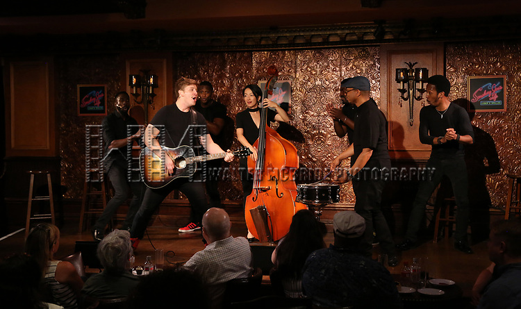 Max Sangerman and cast during the Press Preview Presentation for the new production of 'Smokey Joe's Cafe' at Feinstein's/54 Below on June 27, 2018 in New York City.