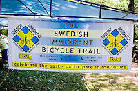 Booth promoting Swedish Immigrant Bicycle Trail. Svenskarnas Dag Swedish Heritage Day Minnehaha Park Minneapolis Minnesota USA