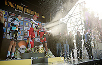 champaign time for race winner Alexander Kristoff (NOR/Katusha) & 3rd finisher Greg Van Avermaet (BEL/BMC). Poor Niki Terpstra (NLD/Etixx-QuickStep) couldn't uncork his bottle<br /> <br /> 99th Ronde van Vlaanderen 2015