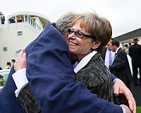 Connections of Beringer celebrate in the winners enclosure after winning The Bathwick Tyres EBF Novice Stakes, during Ladies Evening Racing at Salisbury Racecourse on 15th July 2017