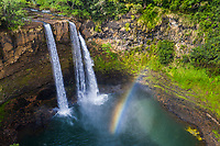 Wailua Falls and a rainbow, Kawaihau district of Kaua'i.