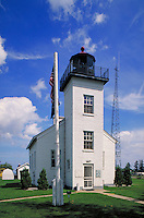 Lighthouse built in 1867 on Lake Michigan at Escanaba; restored and now houses the Delta County Historical Society Museum. Escanaba Michigan USA Lake Michigan.