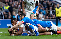 Joe Cokanasiga of England is tackled short of the try line during the Guinness Six Nations match between England and Italy at Twickenham Stadium on March 9th, 2019 in London, United Kingdom. Photo by Liam McAvoy.