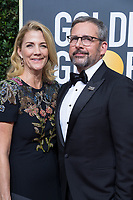 Nominated for BEST PERFORMANCE BY AN ACTOR IN A MOTION PICTURE &ndash; COMEDY OR MUSICAL for his role in &quot;Battle of the Sexes,&quot; actor Steve Carell (R) and wife Nancy Carell attend the 75th Annual Golden Globes Awards at the Beverly Hilton in Beverly Hills, CA on Sunday, January 7, 2018.<br /> *Editorial Use Only*<br /> CAP/PLF/HFPA<br /> &copy;HFPA/PLF/Capital Pictures