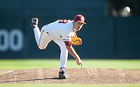 STANFORD, CA - March 29, 2011: Danny Sandbrink of Stanford baseball pitches during Stanford's game against St. Mary's at Sunken Diamond. Stanford won 16-14.