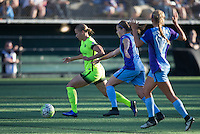 Seattle, WA - Saturday July 23, 2016: Merritt Mathias, Maddy Evans, Dani Weatherholt during a regular season National Women's Soccer League (NWSL) match between the Seattle Reign FC and the Orlando Pride at Memorial Stadium.