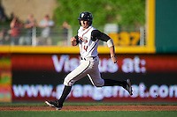 Lansing Lugnuts second baseman Tim Locastro (4) runs to second after a throwing error on a pickoff attempt during a game against the Peoria Chiefs on June 6, 2015 at Cooley Law School Stadium in Lansing, Michigan.  Lansing defeated Peoria 6-2.  (Mike Janes/Four Seam Images)