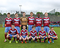 Mervue United U14 team photo ahead of the 2014 Goodson Cup Final.<br /> <br /> Aaron Connolly (At age 14), front row, first from left.<br /> <br /> 18/5/14, Mervue United v St. Francis, U14 SFAI Goodson Cup Final, Jackson Park, Dublin.