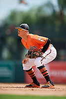 Baltimore Orioles Ian Evans (63) during a Florida Instructional League game against the Philadelphia Phillies on October 4, 2018 at Ed Smith Stadium in Sarasota, Florida.  (Mike Janes/Four Seam Images)