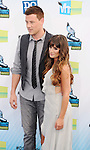 SANTA MONICA, CA - AUGUST 19: Cory Monteith and Lea Michele  arrive at the 2012 Do Something Awards at Barker Hangar on August 19, 2012 in Santa Monica, California.
