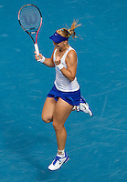 SABINE LISICKI (GER) against SVETLANA KUZNETSOVA (RUS) in the third round of the Women's Singles. Sabine Lisicki beat Svetlana Kuznetsova 6-2 4-6 6-2..21/01/2012, 21st January 2012, 21.01.2012..The Australian Open, Melbourne Park, Melbourne,Victoria, Australia.@AMN IMAGES, Frey, Advantage Media Network, 30, Cleveland Street, London, W1T 4JD .Tel - +44 208 947 0100..email - mfrey@advantagemedianet.com..www.amnimages.photoshelter.com.