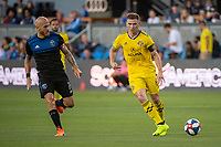 San Jose, CA - Saturday August 03, 2019: Magnus Eriksson #7, Wil Trapp #6 in a Major League Soccer (MLS) match between the San Jose Earthquakes and the Columbus Crew at Avaya Stadium.