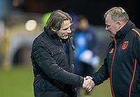 Wycombe Wanderers Manager Gareth Ainsworth & Mansfield Town Manager Steve Evans shake hands during the The Checkatrade Trophy  Quarter Final match between Mansfield Town and Wycombe Wanderers at the One Call Stadium, Mansfield, England on 24 January 2017. Photo by Andy Rowland.