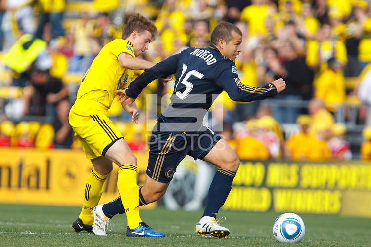 24 OCTOBER 2010: Columbus Crew defender/midfielder Danny O'Rourke (5) defeands Philadelphia Union forward Alejandro Moreno (15) during MLS soccer game at Crew Stadium in Columbus, Ohio on August 28, 2010.