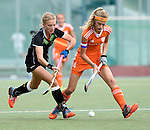 GER - Mannheim, Germany, May 25: During the U16 Girls match between The Netherlands (orange) and Germany (black) during the international witsun tournament on May 25, 2015 at Mannheimer HC in Mannheim, Germany. Final score 1-1 (1-0). (Photo by Dirk Markgraf / www.265-images.com) *** Local caption *** Camille Nobis #19 of Germany, Yibbi Jansen #4 of The Netherlands