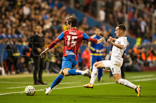 02.03.2016. Valencia, Spain. La Liga football. Levante versus Real Madrid.   Orban is challenged by  Lucas
