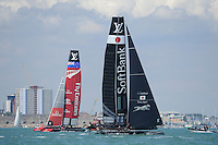 SoftBank Team Japan, JULY 23, 2016 - Sailing: SoftBank Team Japan ahead of Emirates Team New Zealand during day one of the Louis Vuitton America's Cup World Series racing, Portsmouth, United Kingdom. (Photo by Rob Munro/Stewart Communications)