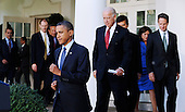 United States President Barack Obama followed by Vice President Joe Biden and members of his economic team, makes his way to the Rose Garden to deliver a statement to the press on the economy at the White House in Washington D.C., Wednesday, September 15 2010..Credit: Olivier Douliery / Pool via CNP