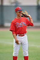 GCL Phillies East Jose Mercado (5) during a game against the GCL Blue Jays on August 10, 2018 at Carpenter Complex in Clearwater, Florida.  GCL Blue Jays defeated GCL Phillies East 8-3.  (Mike Janes/Four Seam Images)