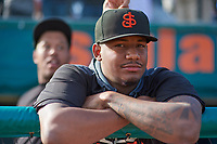 San Jose Giants pitcher Jose Marte (40) before a California League game against the Visalia Rawhide on April 13, 2019 at San Jose Municipal Stadium in San Jose, California. Visalia defeated San Jose 4-2. (Zachary Lucy/Four Seam Images)