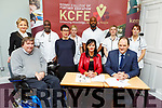 At the signing of the Memorandum of Agreement between KCFE and Bon Secours Hospital at the KCFE on Thursday.<br /> Front l-r, Cllr Terry O'Brien, Hillary Fitzgerald, Mary Lucey and TJ O'Connor.<br /> Back l-r, Catherine Brown, Hayden Mumumba, Gemma Roche, Rahwem Waliu, Mary Ellen Dineen and Amy McGiff.