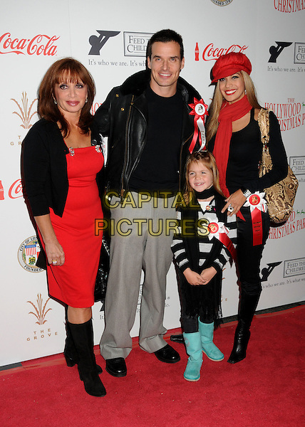 ANTONIO SABATO JR. & FAMILY.Hollywood Christmas Parade 2009 Arrivals held at the Roosevelt Hotel, Hollywood, California, USA..November 29th, 2009.full length kids children wife red hat scarf grey gray trousers black leather jacket .CAP/ADM/BP.©Byron Purvis/AdMedia/Capital Pictures.