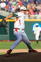 Miami Hurricanes pitcher Michael Mediavilla (18) delivers a pitch to the plate during the NCAA College baseball World Series against the Arkansas Razorbacks  on June 15, 2015 at TD Ameritrade Park in Omaha, Nebraska. Miami beat Arkansas 4-3. (Andrew Woolley/Four Seam Images)