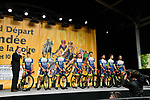Wanty Groupe Gobert on stage at the Team Presentations for the 105th Tour de France 2018 held on Napoleon Square in La Roche-sur-Yon, France. 5th July 2018. <br /> Picture: ASO/Bruno Bade | Cyclefile<br /> All photos usage must carry mandatory copyright credit (&copy; Cyclefile | ASO/Bruno Bade)