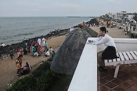 A view from Le Cafe in Pondicherry. This was the first French Port in Pondicherry now a coffee shop by the beach. Arindam Mukherjee