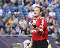 San Jose Earthquakes goalkeeper Joe Cannon (1) positions players in preparation for a corner kick.  The New England Revolution and San Jose Earthquakes play to a scoreless draw at Gillette Stadium on May 15, 2010