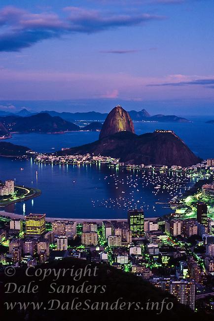 Rio De Janiero, Brazil at  dusk.