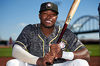 Quad Cities River Bandits Ronnie Dawson (12) poses for a photo before a game against the Lake County Captains on May 6, 2017 at Modern Woodmen Park in Davenport, Iowa.  Lake County defeated Quad Cities 13-3.  (Mike Janes/Four Seam Images)