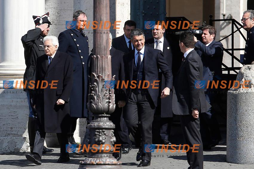 Sergio Mattarella esce dal Quirinale per recarsi a piedi alla Consulta<br /> Roma 12-03-2015 Piazza del Quirinale. Inaugurazione dell'Anno Giudiziario alla Consulta.<br /> Photo Samantha Zucchi Insidefoto