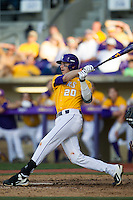LSU Tigers third baseman Conner Hale (20) follows through on his swing during the Southeastern Conference baseball game against the Texas A&M Aggies on April 25, 2015 at Alex Box Stadium in Baton Rouge, Louisiana. Texas A&M defeated LSU 6-2. (Andrew Woolley/Four Seam Images)