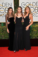 Sistine Stallon, Scarlet Stallone &amp; Sophia Stallone at the 74th Golden Globe Awards  at The Beverly Hilton Hotel, Los Angeles USA 8th January  2017<br /> Picture: Paul Smith/Featureflash/SilverHub 0208 004 5359 sales@silverhubmedia.com