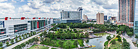 Discovery Green park pano in downtown Houston.