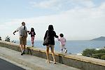 Family touring the   D'Alt Vila (the Old Town) ibiza Spain