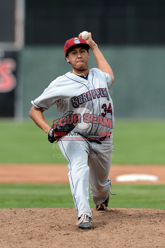 Mahoning Valley Scrappers starting pitcher Luis Gomez (34) delivers a pitch during a game against the Batavia Muckdogs on September 1, 2013 at Dwyer Stadium in Batavia, New York.  Gomez went six innings allowing no hits and striking out eight as the Scrappers pitching duo of Gomez, Carlos Melo, and Kerry Doane tossed a no-hitter 6-0 victory over Batavia.  (Mike Janes/Four Seam Images)