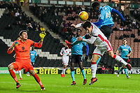 Fleetwood Town's Devante Cole heads at goal<br /> <br /> Photographer Andrew Kearns/CameraSport<br /> <br /> The EFL Sky Bet League One - Milton Keynes Dons v Fleetwood Town - Saturday 11th November 2017 - Stadium MK - Milton Keynes<br /> <br /> World Copyright &copy; 2017 CameraSport. All rights reserved. 43 Linden Ave. Countesthorpe. Leicester. England. LE8 5PG - Tel: +44 (0) 116 277 4147 - admin@camerasport.com - www.camerasport.com