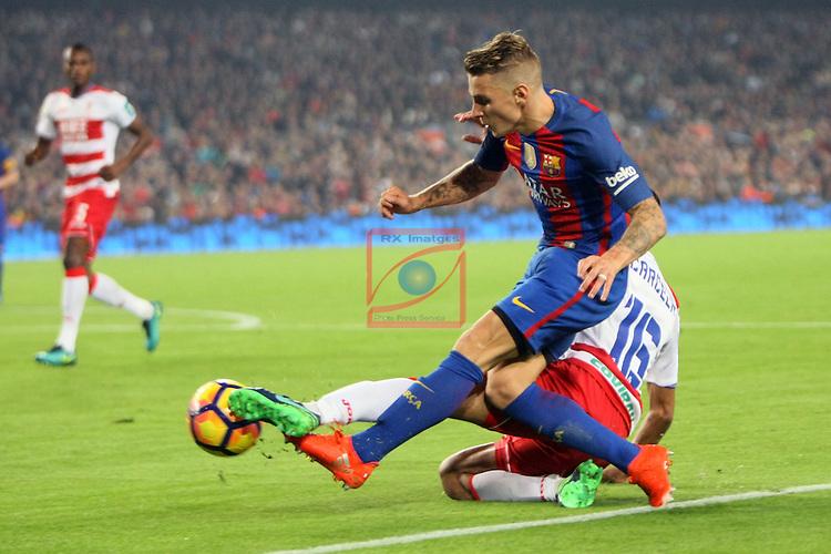 League Santander 2016/2017. Game: 10.<br /> FC Barcelona vs Granada CF: 1-0.<br /> Lucas Digne vs Mehdi Carcela.