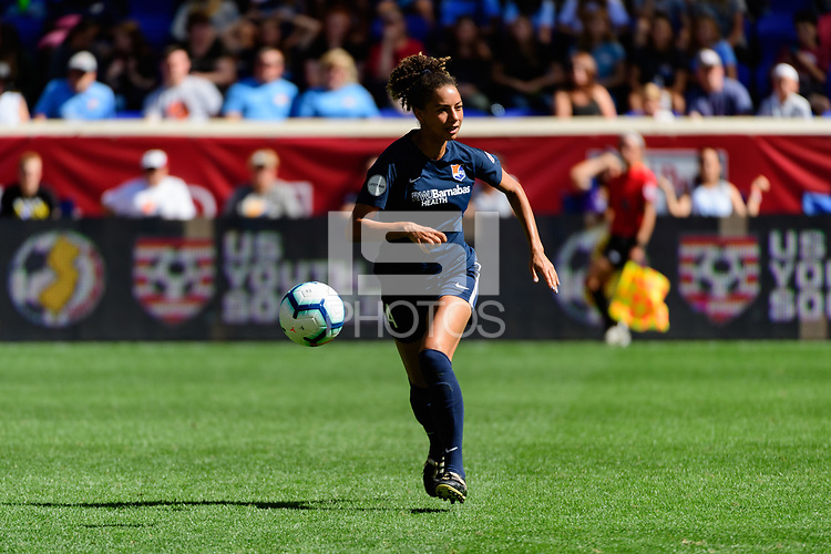 HARRISON, NJ - SEPTEMBER 29: Estelle Johnson #24 of Sky Blue FC during a game between Orlando Pride and Sky Blue FC at Red Bull Arena on September 29, 2019 in Harrison, New Jersey.