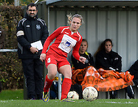 20151128 - PITTEM , BELGIUM : Melissa Vinckx (4) pictured during a soccer match between the women teams of DVK Egem Ladies and KVK Svelta Melsele  , during the eleventh matchday in the Second League - Tweede Nationale season, Saturday 28 November 2015 . PHOTO DAVID CATRY