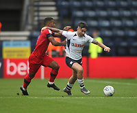 Preston North End's Sean Maguire battles with  Wigan Athletic's Nathan Byrne<br /> <br /> Photographer Mick Walker/CameraSport<br /> <br /> The EFL Sky Bet Championship - Preston North End v Wigan Athletic - Saturday 10th August 2019 - Deepdale Stadium - Preston<br /> <br /> World Copyright © 2019 CameraSport. All rights reserved. 43 Linden Ave. Countesthorpe. Leicester. England. LE8 5PG - Tel: +44 (0) 116 277 4147 - admin@camerasport.com - www.camerasport.com