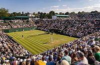London, England, 3 July, 2019, Tennis,  Wimbledon, Ambiancs, overall vieuw of courrt 2 with in the bachground court 12<br /> Photo: Henk Koster/tennisimages.com