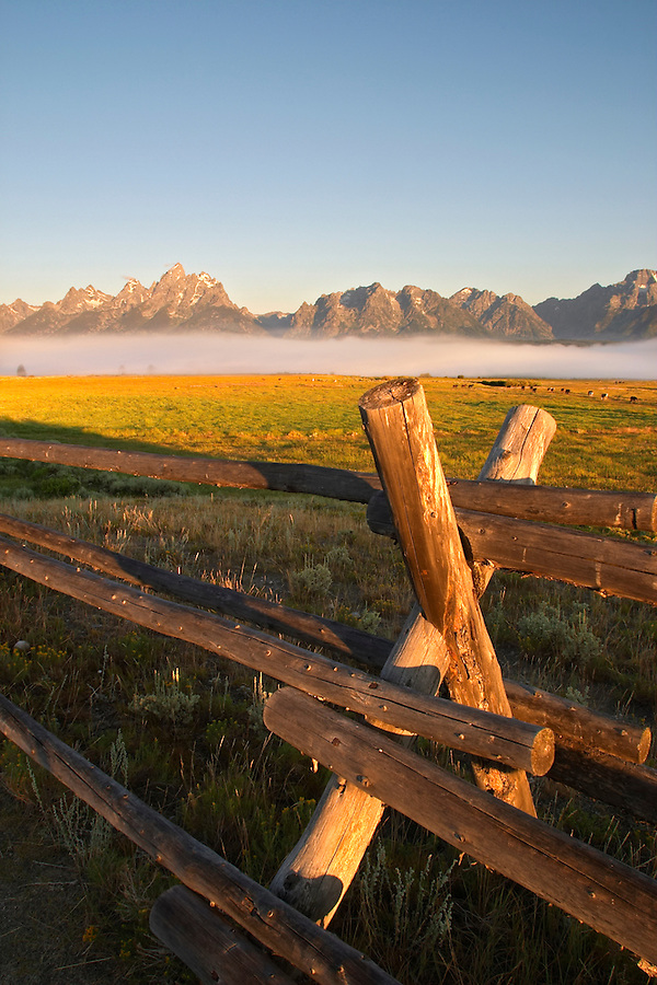 Wooden fence and fog shrouded pasture below the Teton Mountains at sunrise, Grand Teton National Park, Teton County, Wyoming, USA