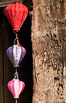 Silk Lanterns 01 - Silk lanterns and old weathered wall, Hoi An, Vietnam